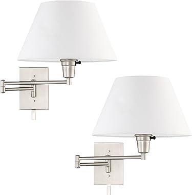 "Kira Home Cambridge 13"" Swing Arm Wall Lamp - Plug in/Wall Mount + White Fabric Shade, 150W 3-Way + Cord Covers, Satin Nickel"