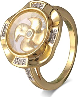 FM FM42 Gold-Tone Kinetic Moving Windmill Glass Locket Ring, The Windmill in The Glass Locket Could Rotate 360 Degrees with a Shake (Size 6-9) ZR1054