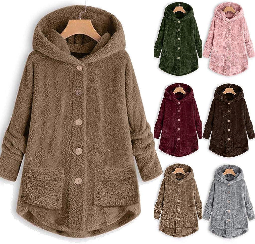 ESAILQ Kleider Frauen-Vlies-unregelmäßiger mit Kapuze Mantel Plus Größen-Lange Hülsen-Knopf-Taschen-Outwear B-kaffee