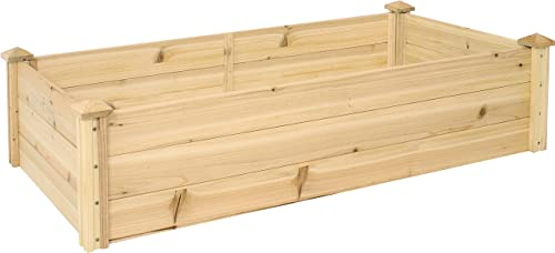 Sunnydaze Outdoor Rectangular Wood Raised Garden Bed - 24 Inches W x 48.25 Inches L x 12.25 Inches H - Elevated Planter Box for Flower, Vegetable, and Herb Gardening - Perfect for Yard or Garden