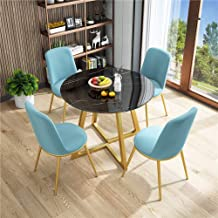Simple Furniture - Q Fabric 5-Piece Modern Vintage Home Table Chair Round Negotiation Combination Easy Reception Leisure C...
