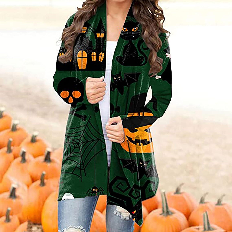 Women Open Front Cardigan Basic Fall Long Sleeve Sweater Trendy Halloween Graphic Coat