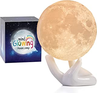 Mind-glowing 3D Moon Lamp - Warm and Lunar White Night Light (Mini, 3.5in) with Ceramic Hand Stand - Nursery Decor for You...