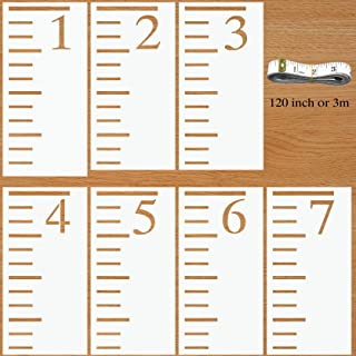 7 Feet Scale Stencils for Growth Chart Rulers, Home Decor | Repeatable Painting on Wood, Wall ,Paper | with 120inch(3m) Flexible Rule