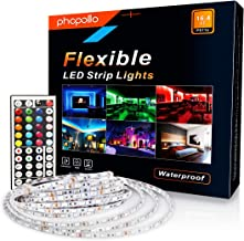 PHOPOLLO Led Strip Lights Kit RGB Color DIY 5050 300leds 16.4ft 5m Waterproof for Home with 44 Keys Remote Controller