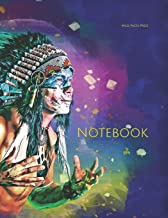 Notebook: Indigenous man male native feathers head set African American America men
