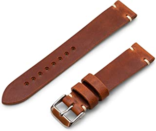 Benchmark Basics Black Horween Dublin Vegetable Tanned Leather Minimalist Watchband | Handmade in Brooklyn | 20mm & 22mm