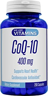 CoQ10 400mg Per Serving - 200 Capsules (Non GMO & Gluten Free) CoQ-10 - Antioxidant Co Q-10 Coenzyme Supports a Healthy Heart and Energy Levels