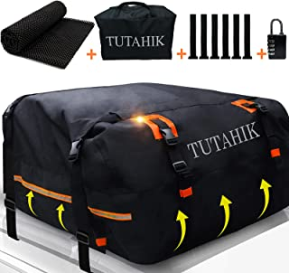 TUTAHIK 20 Cubic ft Car Rooftop Cargo Carrier Bag,Expandable Waterproof Top Luggage Carrier Bag for All Vechicles SUV with/Without roof Rack,6 Door Hooks/Anti-Slip Mat (15 Cubic Expands to 20 Cubic)