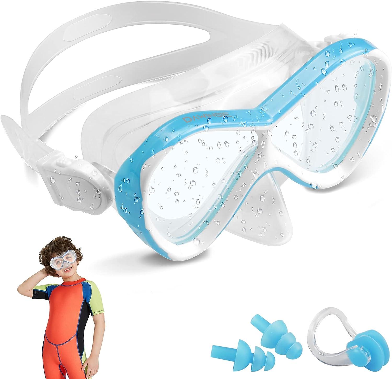 DAWINSIE - Gafas de buceo para niños (4-12 años), gafas de natación para la playa con protección contra fugas y protección UV, tapones para los oídos y pinzas para la nariz incluidos, correa de silico
