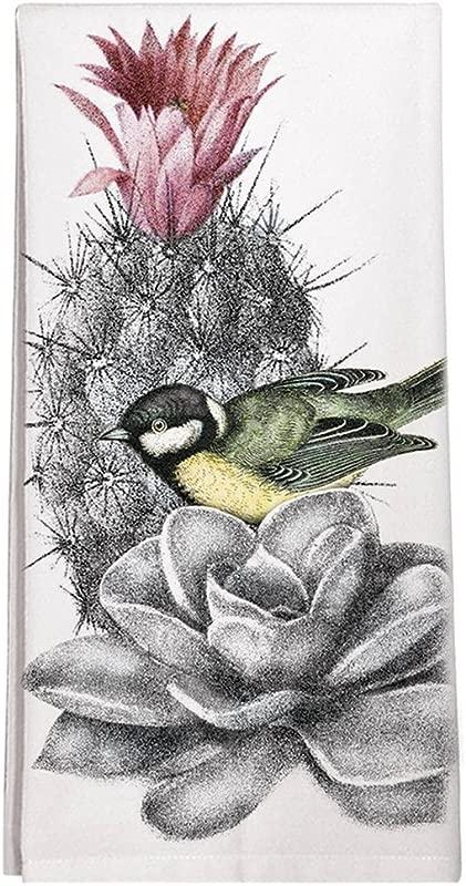 Montgomery Street Bird On A Cactus Cotton Flour Sack Dish Towel