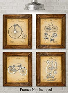 Original Bicycle Patent Art Prints - Set of Four Photos (8x10) Unframed - Makes a Great Gift Under $20 for Bicyclists