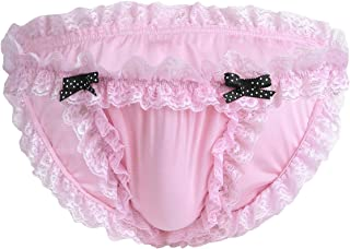 MSemis Men Sissy Panties Lingerie Frilly Ruffled Lace Bloomers Bikini Briefs Crossdress Underwear