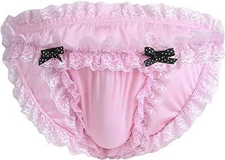 iiniim Men's Sexy Lingerie Sissy Maid Lace bow-knot Soft Briefs Underwear