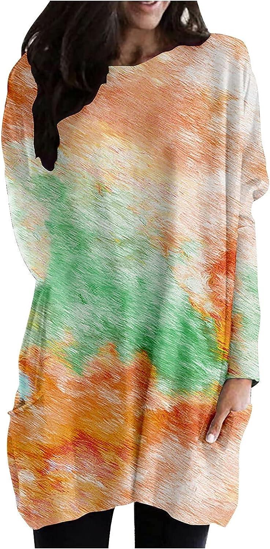 Color Block Tie Dye Long Tunic Tops for Women's Long Sleeve Casual Loose Sweatshirt Tye Dye Pullover T-Shirt Blouses