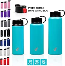 Day 1 Fitness Stainless Steel Water Bottle Wide Mouth with 2 LIDS (20 oz, 32 oz, or 40 oz) - 3 Size and 8 Color Options - ...