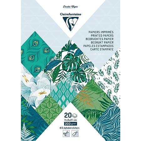 Clairefontaine 95267C Bloc de 20 Feuilles à Motifs en Papier Cartonné 200g + Stickers Alphabet + Étiquettes à découper - Format A5 (14,8x21cm) – Papier Scrapbooking Loisirs Créatifs - Végétal chic