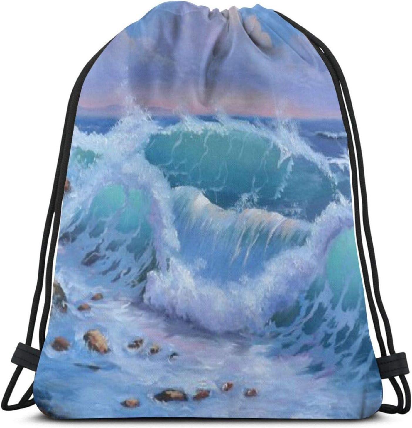 Aizawa Blue Wave Sea Ocean Watercolor Art Drawstring Bag Sport Gym Backpacks Storage Goodie Cinch Bags