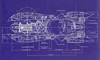 NewBrightBase Blueprint - Batman 1989 Batmobile top View Fabric Cloth Rolled Wall Poster Print - Size: (40