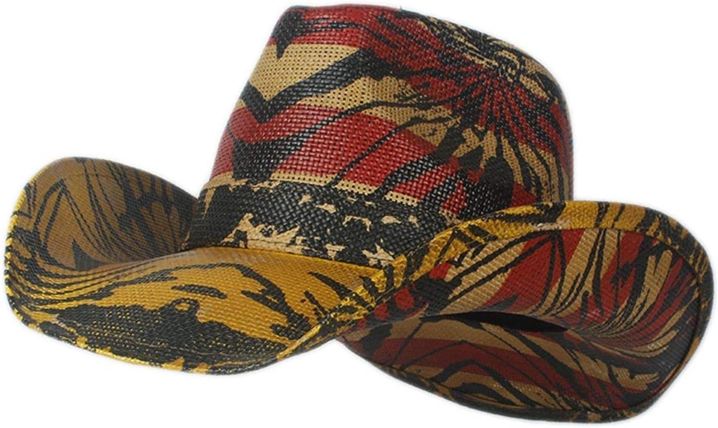 LHZUS Hats Women Men Straw Cowboy Hat Western Cowgirl Hat Sombre