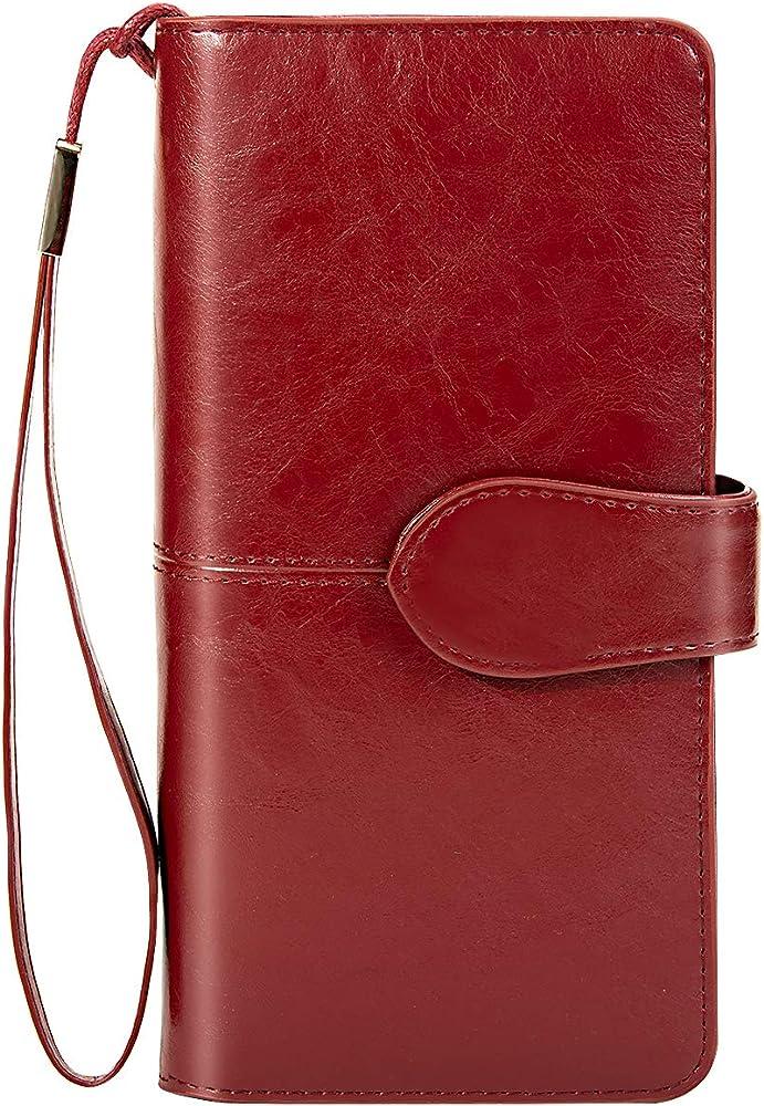 Btneeu, portafoglio in pelle per donna, porta carte di credito, protezione rfid, rosso