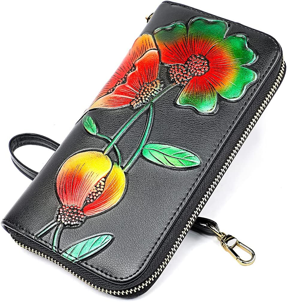 Wristlet Wallets for Women RFID Blocking Leather Zip Large Phone Holder Clutch Purses,MIOZUKI 3D Surface Exquisite Carving Handmade Fashion Color Matching