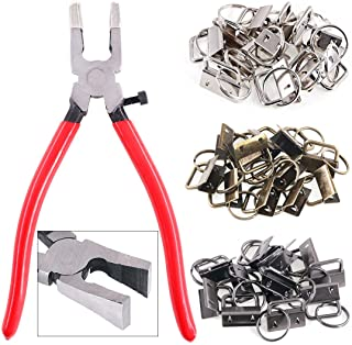 """Swpeet 36 Sets 1"""" 25mm 3 Colors Key Fob Hardware with 1Pcs Key Fob Pliers, Glass Running Pliers Tools with Curved Jaws, St..."""