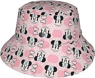 Lsjuee - Berretto regolabile per bambini, con testa di Minnie, con fiocco blu, cappello da spiaggia, a tesa larga, per neo...