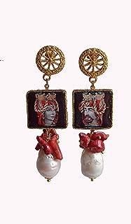 Orecchini Pendenti con Mattonelle in Ceramica di Caltagirone e Perle Barocche