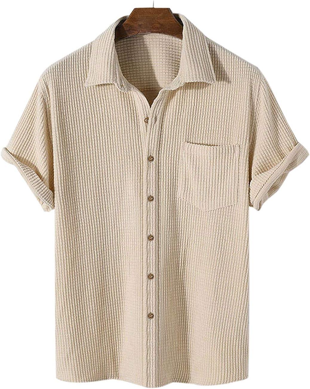 PAODIKUAI Men's Retro Short Sleeve Corduroy Shirt Casual Button Down Shirts