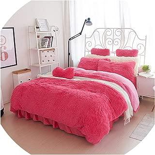 White Pink Fleece Bedding Set King Queen Twin Size Girls Bed Set Warm Soft Bed Sheet Duvet Cover Set Bed Skirt Parure Lit,7,King Size 7Pcs