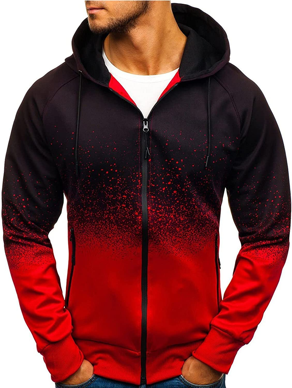 Men's Zip Up Hooded Tops Tie Dye Long Sleeve Casual Loose Sweatshirts Drawstring Workout Sweatshirts with Pockets