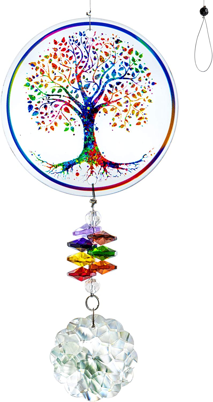 H&D HYALINE & DORA Chakra Tree of Life Suncatcher Glass Art Hanging Ornament Handmade Crystal Mandala Prism Decor Window Car Wall Art Hanging Decor for Home Office