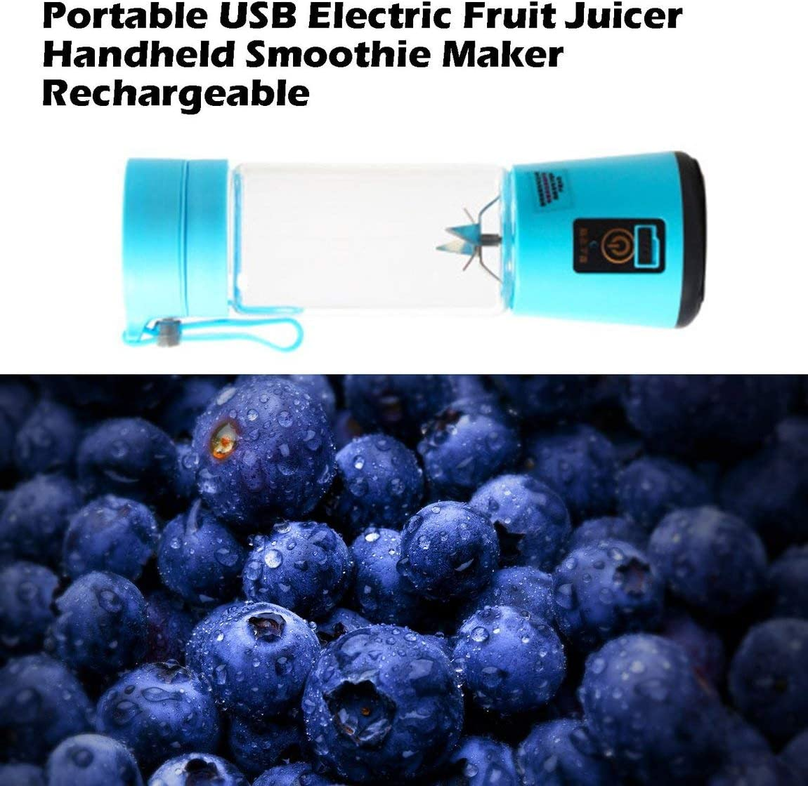 SeniorMar Tamaño portátil USB Exprimidor de Frutas eléctrico Batidora de Mano Licuadora Recargable Mini Taza de Jugo portátil Agua Azul