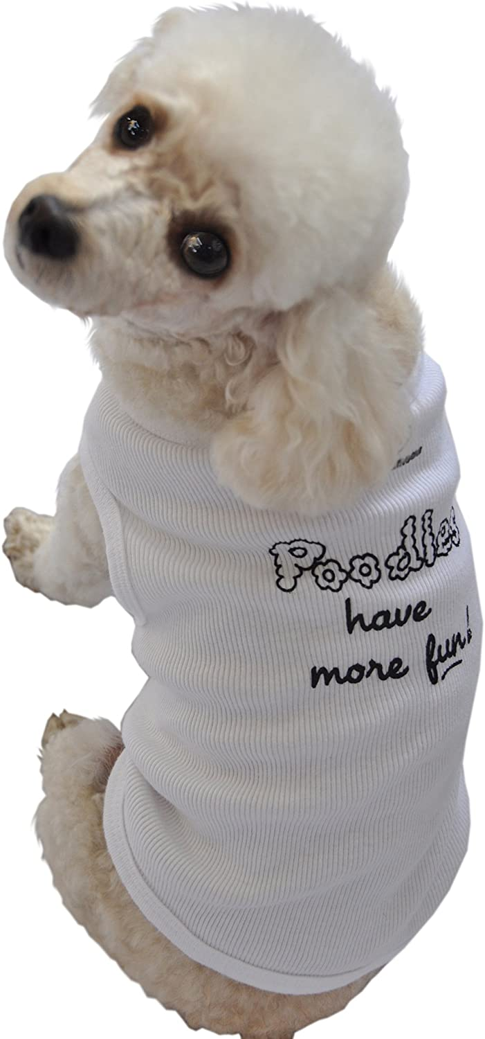 Ruff Ruff and Meow Large Dog Tank Top, Poodles Have More Fun, White