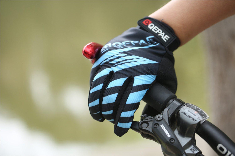 Lerway Guantes Gimnasio Deportivos Ciclismo Gloves Completo Dedos para Bicicleta Bici Moto Unisex Protección las Palmas (Azul, M): Amazon.es: Coche y moto
