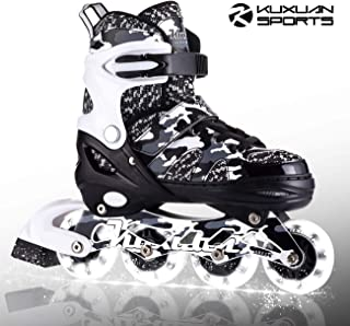 Kuxuan Boys Camo Black & Silver Adjustable Inline Skates with Light up Wheels, Fun Illuminating Rollerblades for Kids Girls Youth