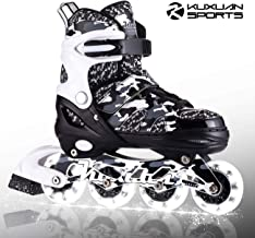 Kuxuan Boys and Girls Camo Adjustable Inline Skates with Light up Wheels, Fun Illuminating Roller Blading for Kids Girls Y...