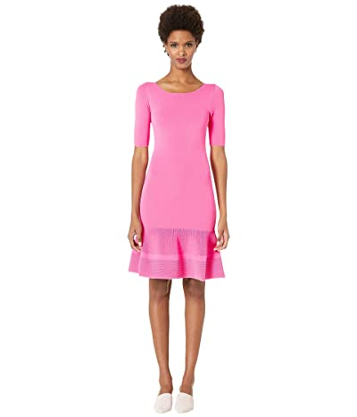 Boutique Moschino 1/4 Sleeve Drop Hem Dress (Pink) Women