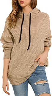 Sollinarry Women's Long Sleeve Hooded Knit Sweater Casual Loose Pullover Tops