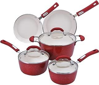 Hamilton Beach 8pc Aluminum Cookware Set, 3.0mm Forged, Red Speckled Procelain Enamel, Cream Ceramic Non-Stick