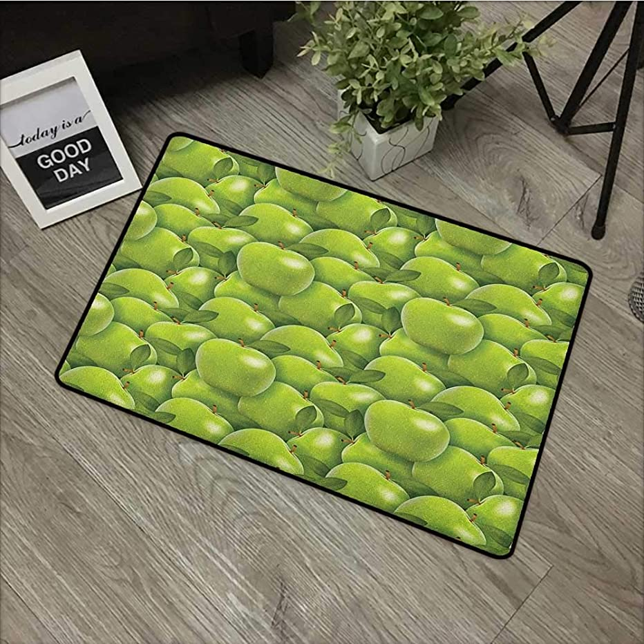 Bathroom Door mat W24 x L35 INCH Apple,Agriculture Harvest Pattern with Granny Smith Apple Drawing Autumn Fruit, Apple Green Fern Green Non-Slip, with Non-Slip Backing,Non-Slip Door Mat Carpet
