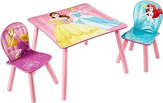 Disney Princesas Conjunto de Mesa y Dos sillas, Madera, Rosa, 63.00x63.00x45.00 cm
