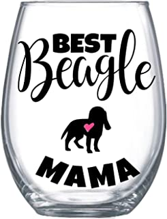 Best Beagle Mama Mom Ever Gifts for Women Stemless Wine Glass for Her Idea Large 0162