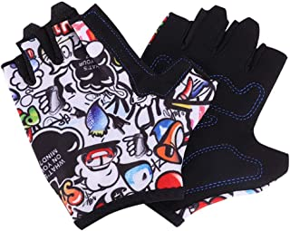 ITODA Kids Fingerless Sports Gloves Full Palm Protection & Extra Grip Non-slip Breathable Shockproof Short Cycling Gloves with Protection Gel Pad for Children Riding Bicycles & Skateboards