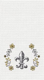 C&F Home Fleur De Lis Black and Yellow 18 x 27 Inch Cotton Decorative Kitchen Towel
