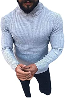 SHOWNO Mens Knit Regular Fit Contrast Casual Long Sleeve Round Neck Pullover Sweater
