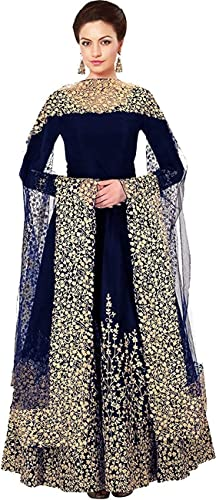 Women S Tafeta Silk Heavy Embroidered Semi Stitched Anarkali Gown Blue Free Size