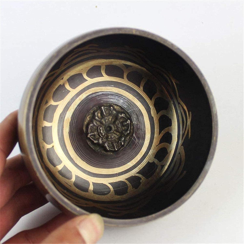 SHANCL Cuenco tazón Tibetano Cuenco Cuenco Hecho a Mano Sana Cuenco Yoga meditación Canto para la relajación de la meditación (Color : One Color, Size : 10.5cm)