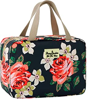 Toiletry Bag for Women Cosmetic Travel bag Floral Cosmetic Case Large Travel Toiletry Bag for Girls Make Up Bag Navy Blue ...